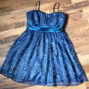 TRIXXI Formal Peacock Blue Teal Lace Dress Size 9